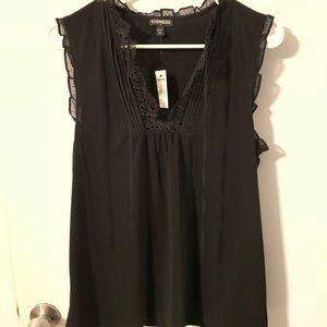 Express women's sleeveless top, black, lace lining